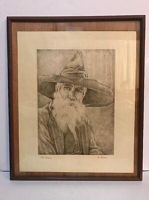 Willy Seiler Limited Edition & Signed Print -- OLD INDIAN --  NICE!