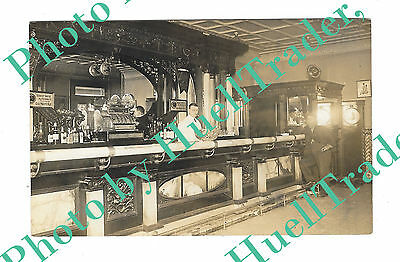 RPPC Fancy Saloon Interior w/Coin-Op/Penny Arcade Machine, Early 1900s Photo