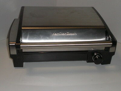 Hamilton Beach Stainless Steel Manual Dial Indoor Searing Grill 25360 USED