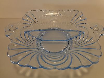"""Vintage Cambridge Caprice Moonlight Blue Two Handled Footed 5 1/2"""" Divided Bowl"""
