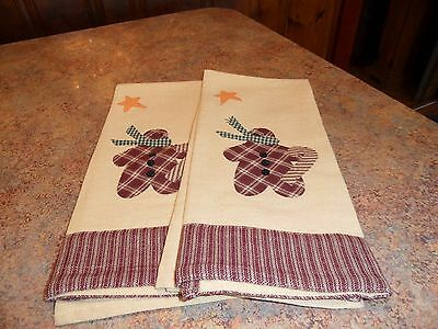 "Xmas Snowman Towels/28"" L/set Of 2/red, Green, Tan,yellow/100% Cotton/unknown"
