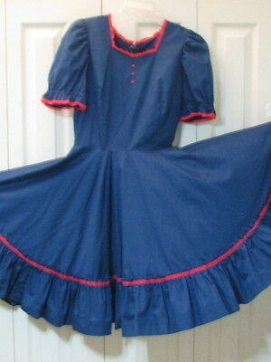 2396 Dark Blue with Red Trim Dress, Waist 28, S