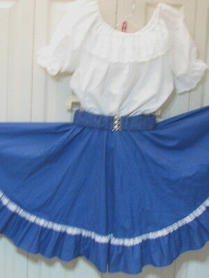 2469 White Blouse with Royal Blue Skirt & Belt, M