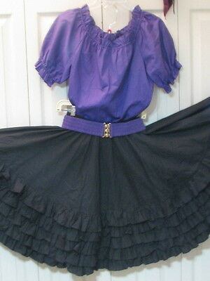 2506 Purple Blouse with Black Skirt, Belt and Tie, S