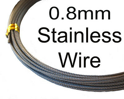 0.8mm 62kg 49 Strand Stainless Fishing Wire. 10m. 316 grade. Flexible. FAST POST
