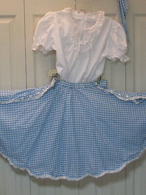 2213 White Blouse with Light Blue Gingham Skirt & Tie, S