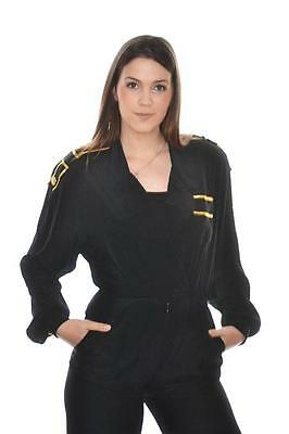 vtg  80s  MILITARY Gold & BLack eppalautte MARCHING BAND romper  JUMPSUIT  m 8