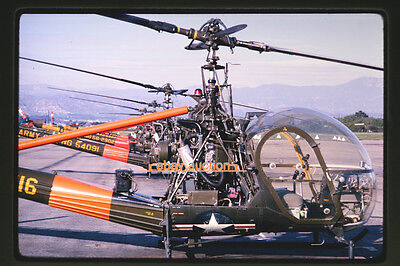Original 1965 Slide, Lineup of Army Hiller OH-23 Raven Helicopters
