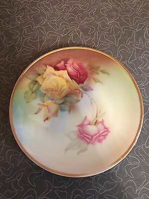 Antique Sevres Bavaria Hand Painted Roses Cabinet Plate Artist Signed