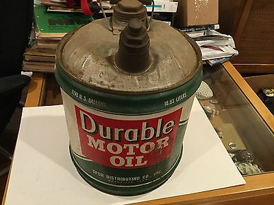 Vintage Durable Motor Oil 5 Gallon Can Metal RARE