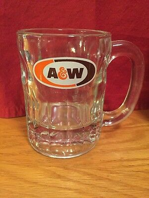 A&W Root Beer Oval Logo Squat Heavy Glass Mug Advertising