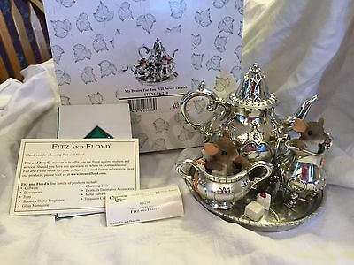 """Charming Tails """"MY DESIRE FOR YOU WILL NEVER TARNISH""""  TEA SET MOUSE NIB"""