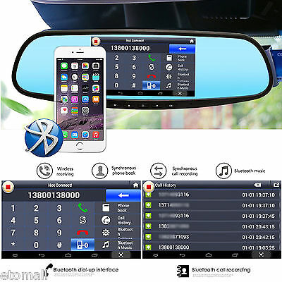 "5"" GPS Car Rear View Mirror Monitor Wifi Navi Bluetooth DVR Backup Cam for Ford"