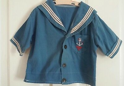 child vintage SAILOR shirt 1950S COTTON CADET BLUE EMBROIDERED ANCHOR CHEST=27