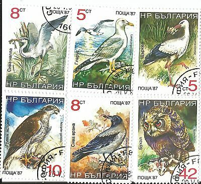 6 Colorful Bird Stamps From Bulgaria
