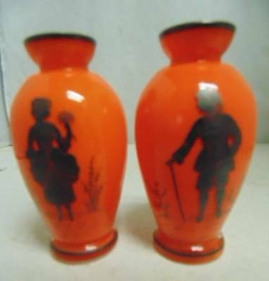 Pair Vintage ORANGE Glass Vases Victorian Boy & Girl  Image Czechoslovakia Czech