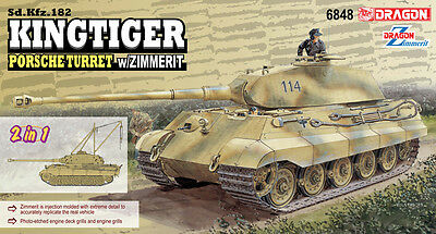 Dragon 1/35 King Tiger Prosche with Zimmerit Brand New Plastic Model Kit 6848