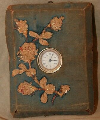 Antique Victorian Era Wall Hanging Textile Decorated AE Hotchkiss Patent Clock