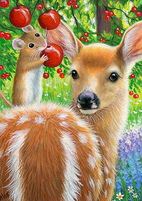Mouse fawn deer cherry tree spring flowers wildlife  OE aceo print art
