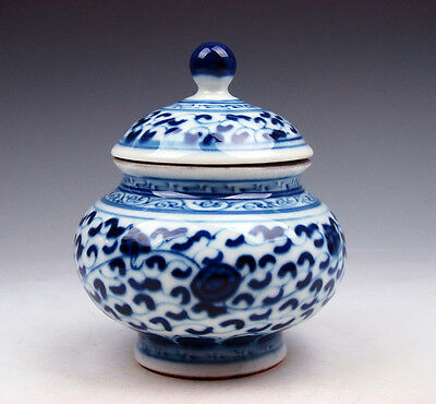 Blue&White QingHua Porcelain Floral Painted Lidded Pot Jar #02191702