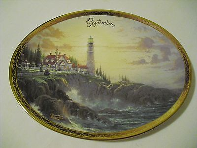 "Bradford Exchange ""Clearing Storms"" Thomas Kinkade Oval  Plate SEPTEMBER"