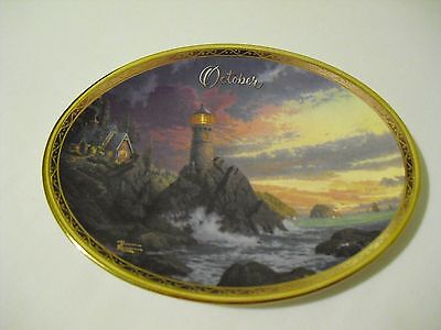 "Bradford Exchange ""Rock of Salvation"" Thomas Kinkade Oval Plate October"