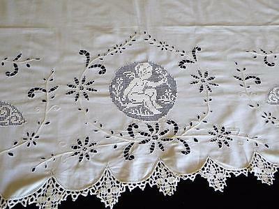 Vintage Italian Burrato Lace Putti Cutwork Lace Pillow Lay Over Crocheted Lace