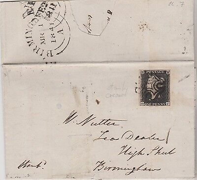 WOW QV COVER 1841 WITH 4 MARGIN 1d PENNY BLACK STAMP PLATE 7 RED MX HI CAT $944+