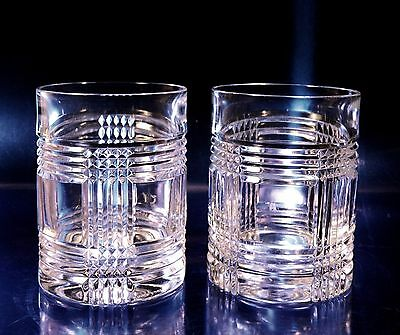 2 Ralph Lauren GLEN PLAID Crystal Double Old-Fashioned Whiskey Tumblers, NR!