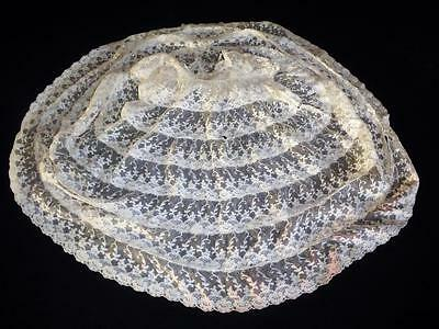 Antique Embroidered Lace Net Baby Dress Or Antique Bisque Composition Doll Dress