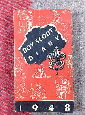 1948 Offical Boy Scout Diary 128 Pages w/ drawings from Baden Powell [PA148]