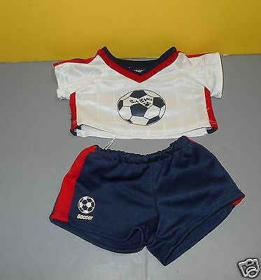 BABW Build a Bear Clothing Outfit Red White & Blue Soccer Shorts & Shirt