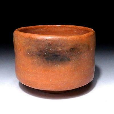 JJ5: Vintage Japanese Pottery Tea Bowl, Raku Ware, AKA RAKU, Red Raku