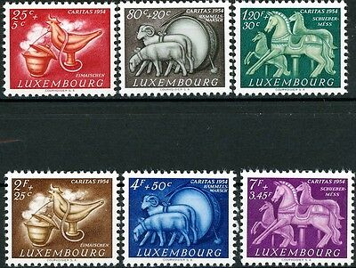LUXEMBOURG - 1954 Caritas Semipostals Complete Set of 6 MLH Scott's B180 - B185
