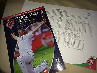 Signed Autographed England Australia Ashes Programme Strauss Anderson Broad Cook