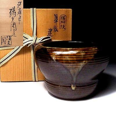 LG3: Japanese Tea ceremony Kensui bowl, Zeze ware by 1st class potter, Seko Omi