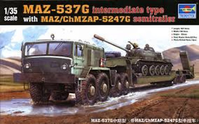 Trumpeter 1/35 Maz-537G With Maz/chmzasp 5247G Semi-Trailer Brand New Model Kit