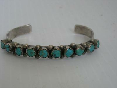 VINTAGE NAVAJO INDIAN STERLING SILVER 10 stone TURQUOISE ROW BRACELET NR