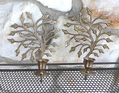 Vintage Brass Wall Sconce Candle Holders Tree Plant Hollywood Regency Metal Old