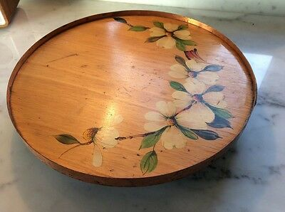 Pretty old handpainted cake stand/lazy susan/decorated tray/serving