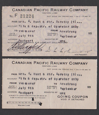 vTg 1929 Canadian Pacific Railway trip pass coupon ticket CPR swastika West Line