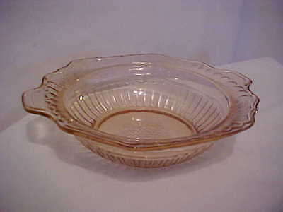 Vintage pink depression glass serving bowl flower pattern