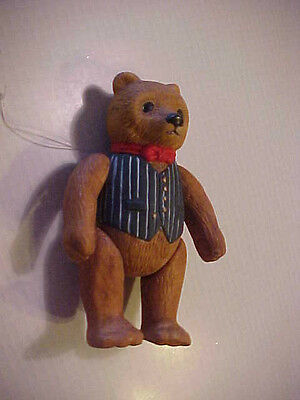 Vintage Dept 56 Jointed Bear Christmas Tree  Ornament  1983