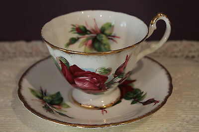 Beautiful Paragon By Appointment Teacup And Saucer - Dark Red Rose -
