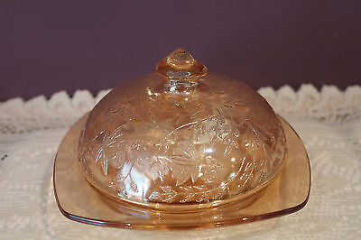 Jeanette Glass Iridescent Floragold Square Butter Dish With Lid