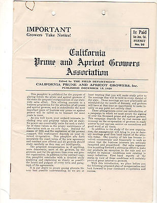 1920 California Prune & Apricot Growers Association Important Notice to Growers