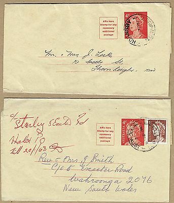 Australia Stationery 1966 4c Wrapper used (2, one uprated for rate increase)