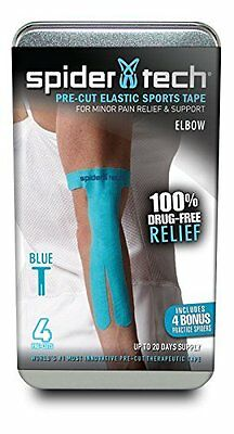 Spider Tech Kinesiology Tape Pre-Cut Elbow, 4-Pack, Blue