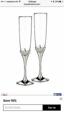 Monique Lhuillier Waterford Crystal And Silver Sunday Rose Silver Toasting Flute
