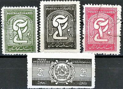 Afghanistan Issues of 1934 to 1939 Set 4 Scott's Used: 283 283A 284A & MH 318